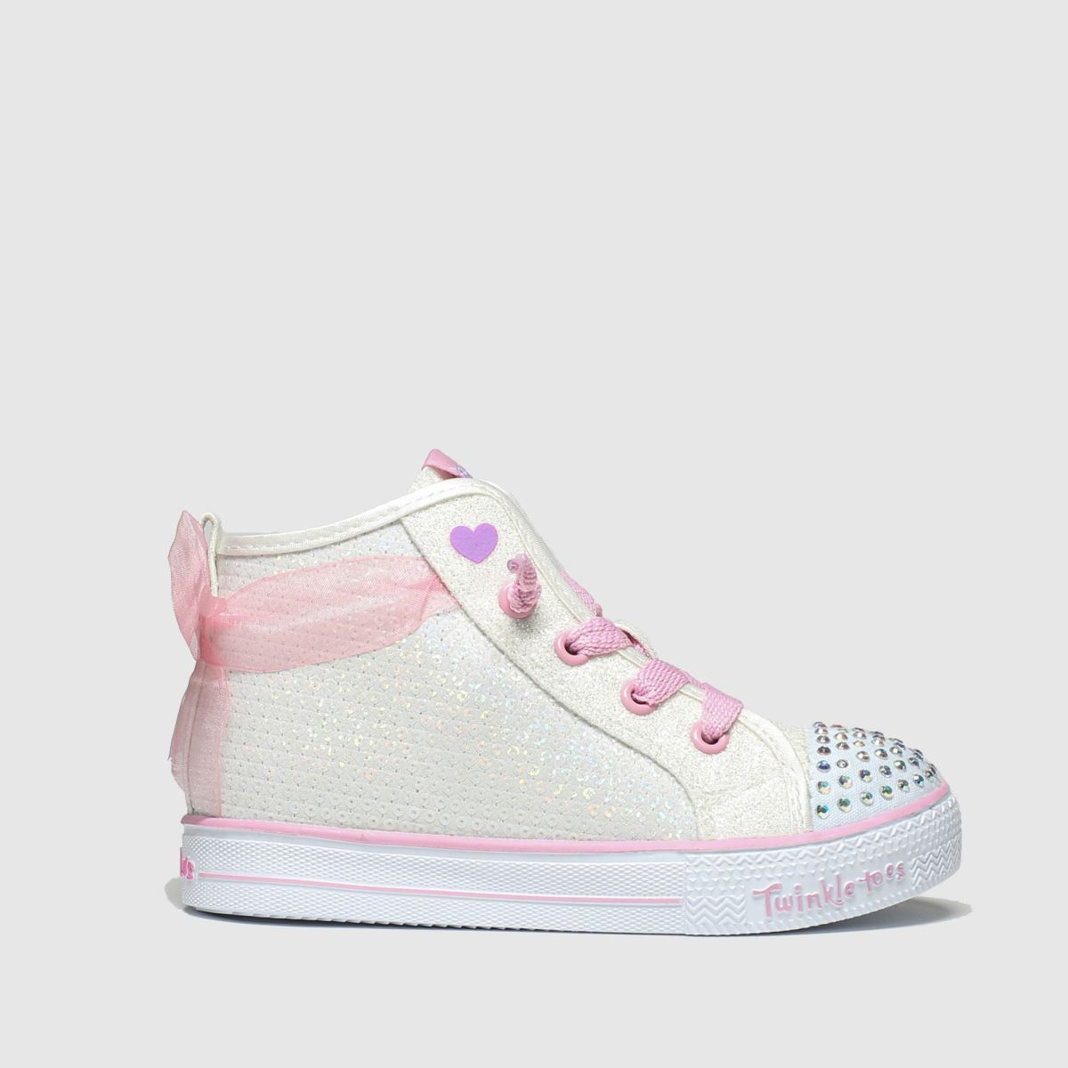 Skechers White & Pink Shuffle Lite Trainers Toddler