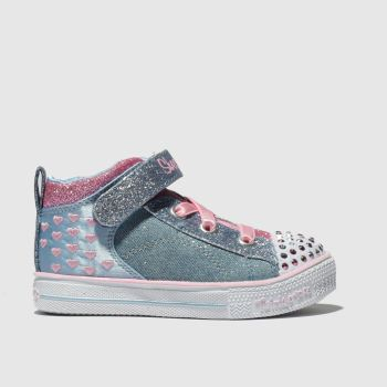 skechers blue shuffle lite dainty denims trainers toddler