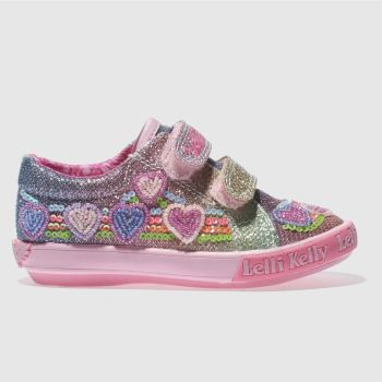 LELLI KELLY  PINK & BLUE RAINBOW HEARTS GIRLS TODDLER TRAINERS