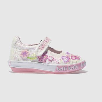 1f49763c55e29 Girls white & pink lelli kelly glitter butterfly dolly trainers   schuh