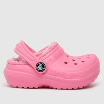 crocs Pale Pink Classic Lined Clog Girls Toddler