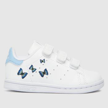 adidas White & Pl Blue Stan Smith Girls Toddler