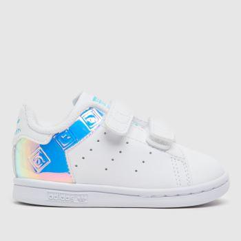 adidas White & Silver Stan Smith Girls Toddler