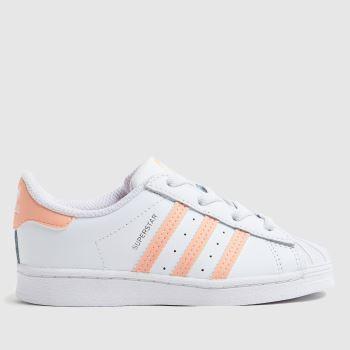 adidas White & Pink Superstar Girls Toddler