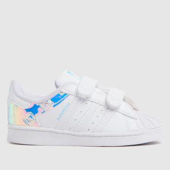 adidas White & Silver Superstar Girls Toddler