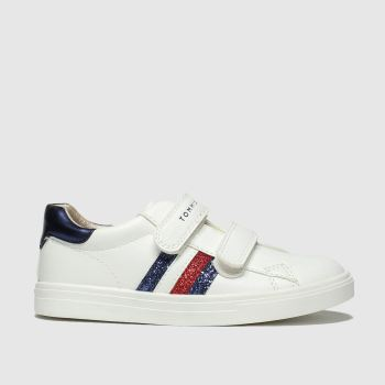 Tommy Hilfiger White & Navy Velcro Sneaker Girls Toddler