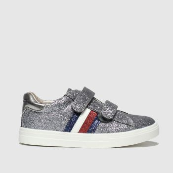 tommy hilfiger silver & red velcro sneaker trainers toddler