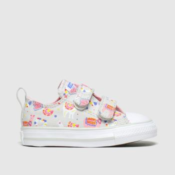 Converse Grey & Pink All Star 2v Lo Llama Love Girls Toddler