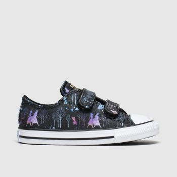 Converse Black & Purple All Star 2v Lo X Frozen Girls Toddler