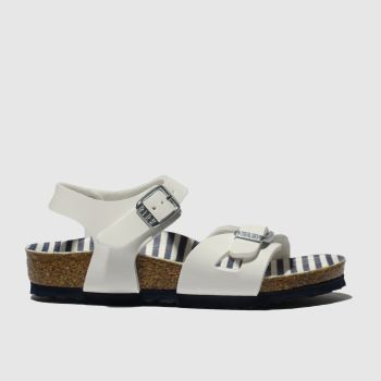 birkenstock white & blue rio sandals toddler