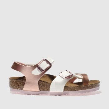 Birkenstock White & Rose Gold TAORMINA Girls Toddler