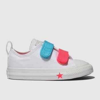 Converse White & Pink All Star 2V Lo Girls Toddler