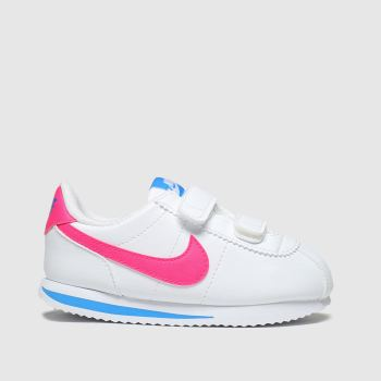 Nike White & Pink Cortez Basic Girls Toddler