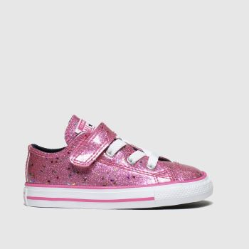 Converse Pink All Star 1V Lo Glimmer Girls Toddler