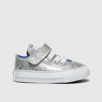 Converse Silver All Star 1V Lo Glimmer Girls Toddler