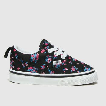 Vans Black & Red Era Elastic Lace Girls Toddler