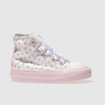 Converse White & Pink ALL STAR HI POLKA DOT Girls Toddler