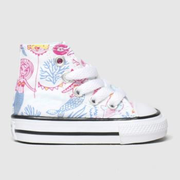 Converse White & Pl Blue Hi Mermaid Girls Toddler