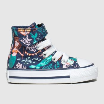 Converse Navy & Orange 1v Hi Mermaid Girls Toddler