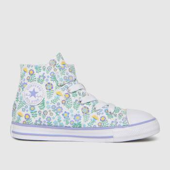 Converse White & Green 1v Hi Ditsy Floral Girls Toddler