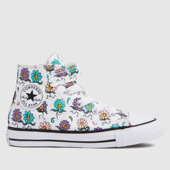 Converse White & Purple 1v Hi Petals Girls Toddler