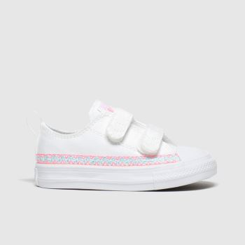 Converse White All Star 2v Lo Braclet Girls Toddler#