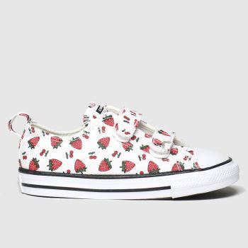 Converse White & Red 2v Lo Fruits Girls Toddler#