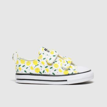 Converse White & Yellow All Star 2v Lo Fruits Girls Toddler#