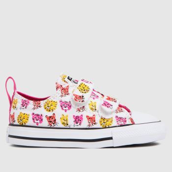 Converse White & Pink 2v Lo Jungle Cats Girls Toddler