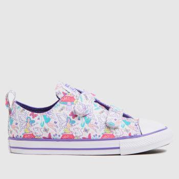Converse White & Purple 2v Lo Fantasy Girls Toddler