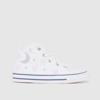 Converse White & Pink Hi Make A Wish Girls Toddler