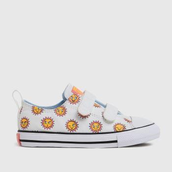 Converse White & Yellow 2v Lo Sunflower Girls Toddler