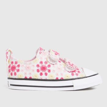 Converse White & Pink Lo 2v Broderie Girls Toddler