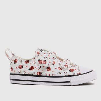Converse White & Red 2v Lo Bugs Girls Toddler