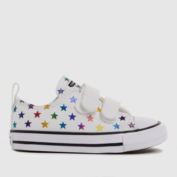 Converse White 2v Lo Foil Star Girls Toddler