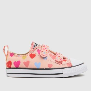 Converse Pale Pink 2v Lo Hearts Girls Toddler