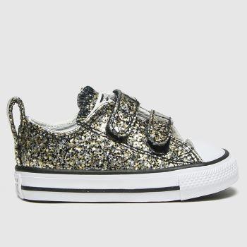 Converse Black & Gold 2v Lo Glitter Girls Toddler