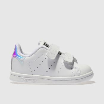adidas white & silver stan smith trainers toddler