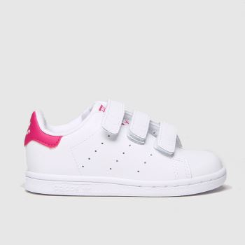 Adidas White & Pink Stan Smith Girls Toddler#