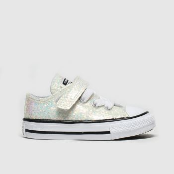 Converse White & Pl Blue All Star 1v Lo Glitter Girls Toddler