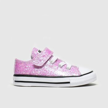 Converse pale pink all star 1v lo glitter trainers toddler