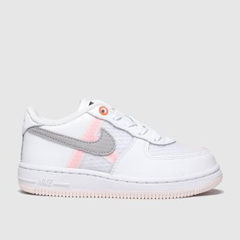 Nike White & grey Air Force 1 Lv8 c2namevalue::Girls Toddler
