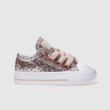 2271a706e5fb Girls pink converse all star ox glitter trainers