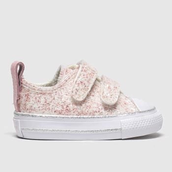 Converse Pale Pink 2v Lo Glitter Girls Toddler#