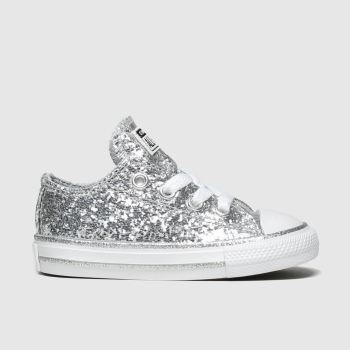 Converse Silver All Star Lo Glitter Girls Toddler