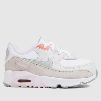 Nike White & Silver Air Max 90 Ltr Girls Toddler