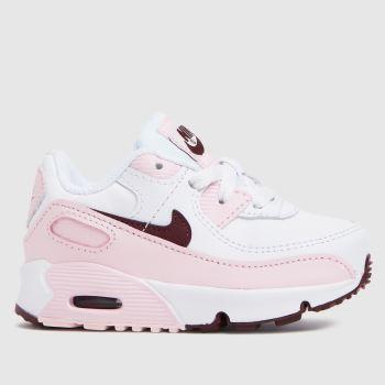 Nike White & Pink Air Max 90 Ltr Girls Toddler