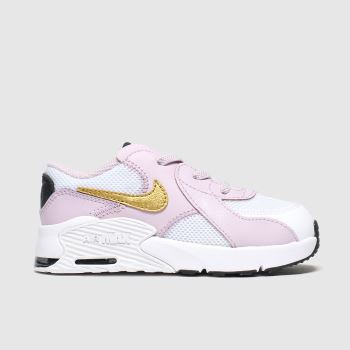 Nike White & Pink Air Max Excee Girls Toddler#