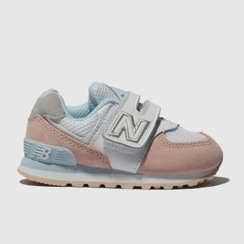 New Balance White & Pink 574 Girls Toddler