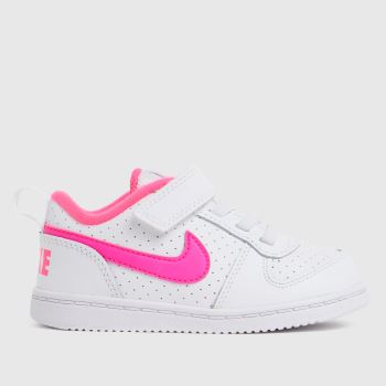 Nike White & Pink Court Borough Low Girls Toddler